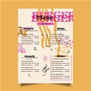 国外时尚粉色创意菜单设计模板.ai