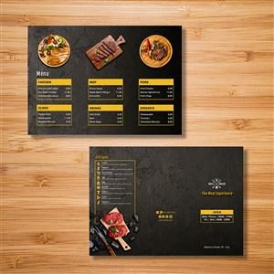 国外三折页设计牛排美食餐饮店设计模板.psd