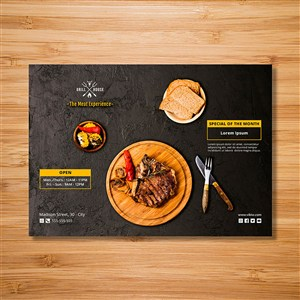 国外牛排餐饮店海报设计模板.psd