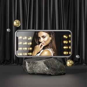 石頭上的手機貼圖樣機