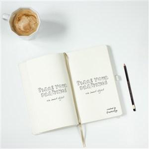 咖啡旁边打开的书本杂志贴图样机