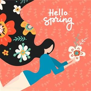 手捧鲜花美女妇女节三八节海报矢量素材模板