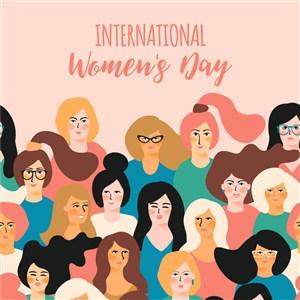 多国美女人物妇女节三八节节日矢量素材