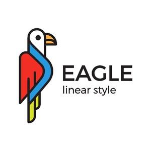 五彩鸟标志图标矢量logo素材