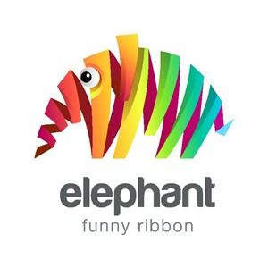彩色大象标志图标旅游矢量logo
