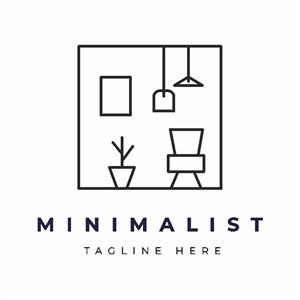 極簡主義家具品牌矢量logo設計