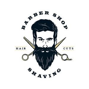 人剪刀图标复古理发店矢量logo设计