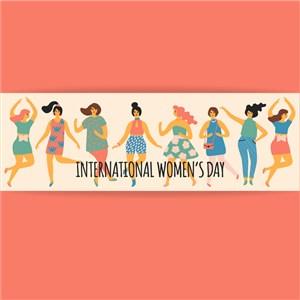 跳舞的美女欢庆三八节女神节矢量海报素材