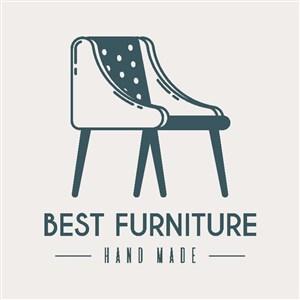 椅子标志图标复古风格家具品牌logo设计