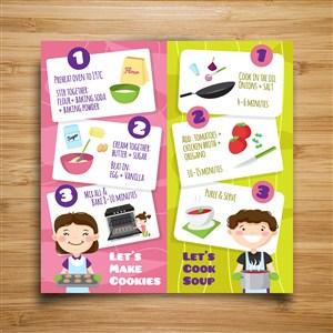 儿童DIV美食菜谱制作过程图设计模板.ai