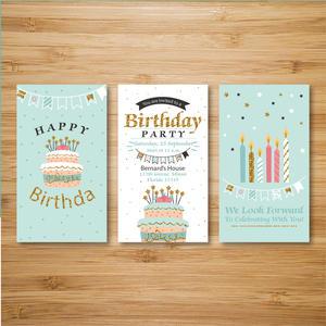国外欢快色彩色调儿童生日快乐贺卡设计模板.ai