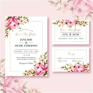 精美粉色玫瑰花邀請函背景底紋矢量素材