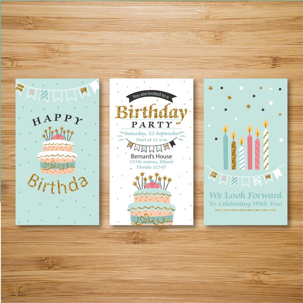 國外歡快色彩色調兒童生日快樂賀卡設計模板.ai