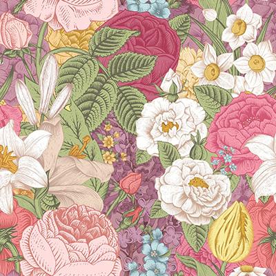 彩色古典線描木刻花卉