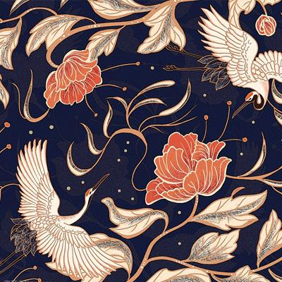 中國風仙鶴牡丹底紋背景素材