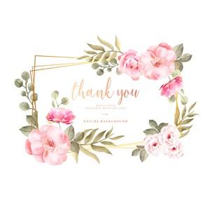 粉色花朵花边边框邀请函矢量素材