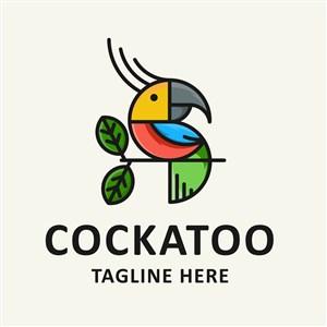 彩色鹦鹉图标服饰时尚品牌矢量logo设计素材