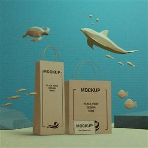海洋生活概念牛皮纸袋贴图样机