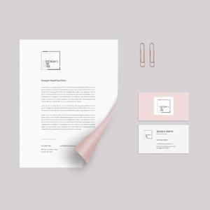 粉色商务文档宣传单名片贴图样机