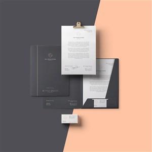 黑色企業vi商務文檔名片文件夾貼圖樣機