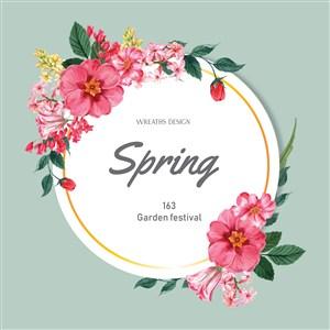 春季促销花朵边框矢量素材