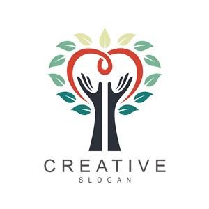 手爱心树图标教育机构矢量logo设计素材