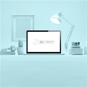 藍色桌面電腦貼圖樣機