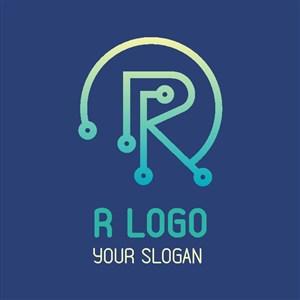 R标志图标网络科技公司logo设计素材