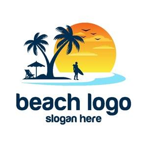 海滩标志图标休闲旅游logo设计素材
