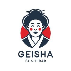艺伎图标寿司店矢量logo