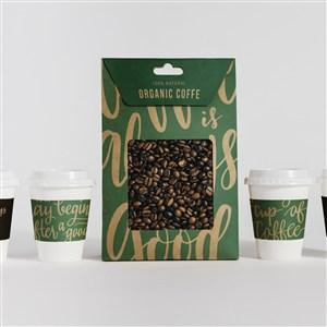 一次性咖啡杯和咖啡豆包装袋贴图样机