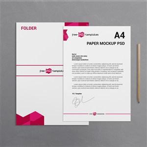 A4纸张商务文档宣传单贴图样机