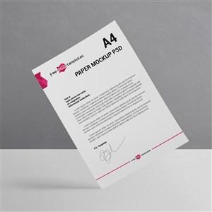 悬浮的A4宣传单商务文档贴图样机