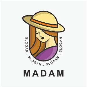复古女人头像服装品牌logo设计素材