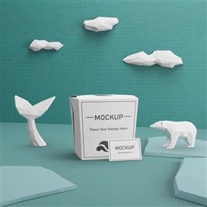 海洋日纪念品包装盒纸盒贴图样机