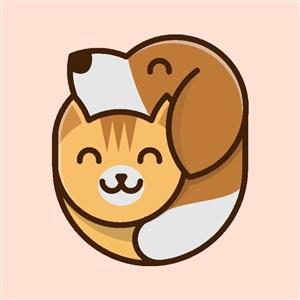 猫狗图标宠物店logo设计