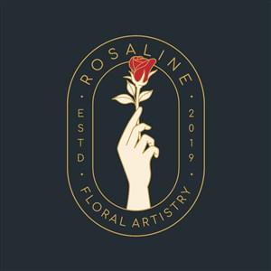 手拿玫瑰图标美容医疗矢量logo设计素材