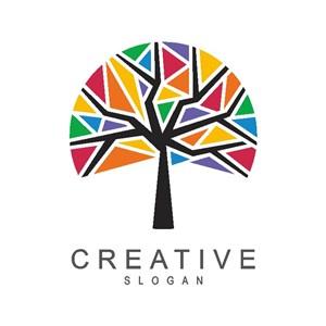五彩树标志图标矢量logo设计素材