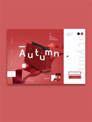 红色背景女性饰品网页海报页面设计素材
