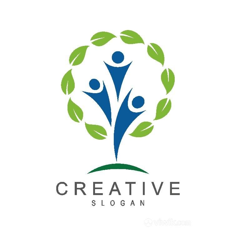 樹人物標志圖標學校矢量logo設計