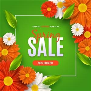 清新鲜花绿叶春季促销海报矢量素材模板