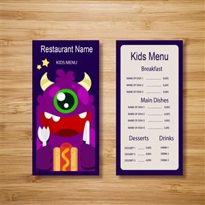 紫色恶魔儿童菜单模板.ai