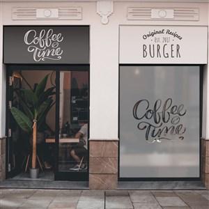 咖啡店甜品店店招門頭貼圖樣機