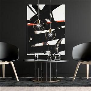 会议室黑色背景墙墙上画框贴图样机