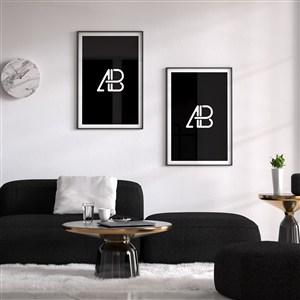 沙发背景墙组合相框贴图样机