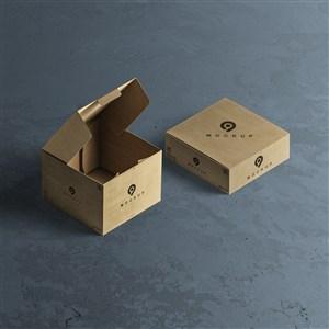 两个牛皮纸盒贴图样机