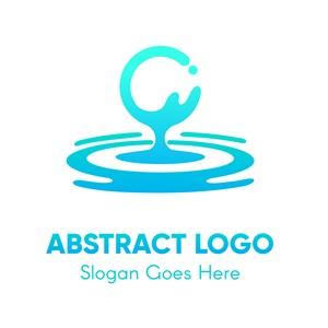 蓝色抽象水滴矢量logo