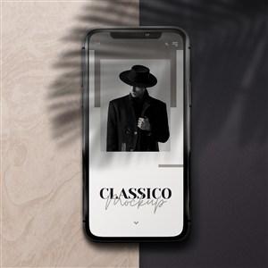 阴影效果覆盖的手机贴图样机