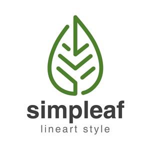 树叶标志抽象线性风格logo