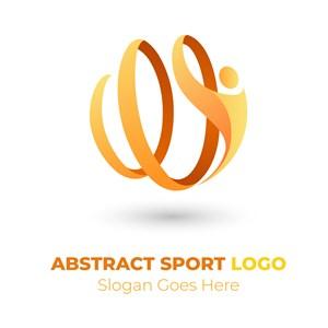 抽象渐变人物运动矢量logo设计